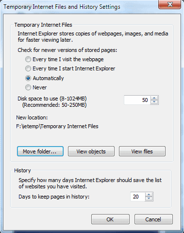 temporary internet files