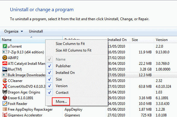 uninstall program options