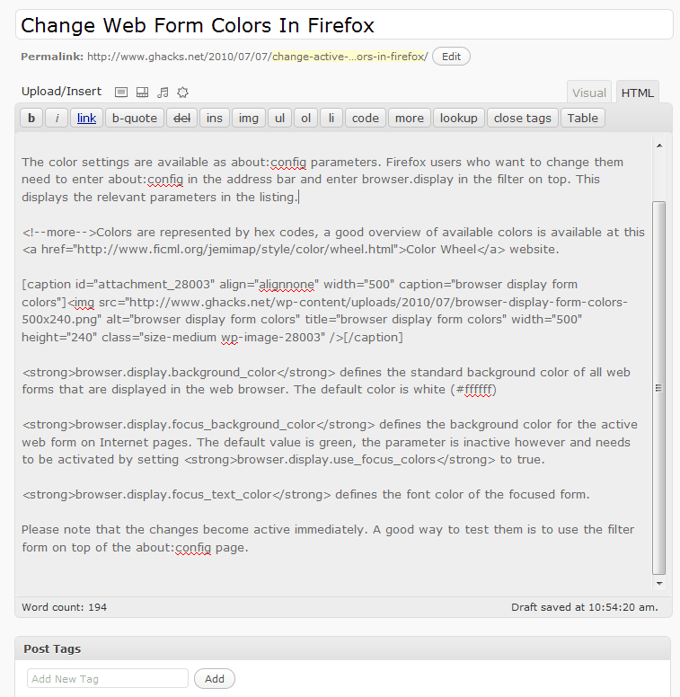 browser display form colors