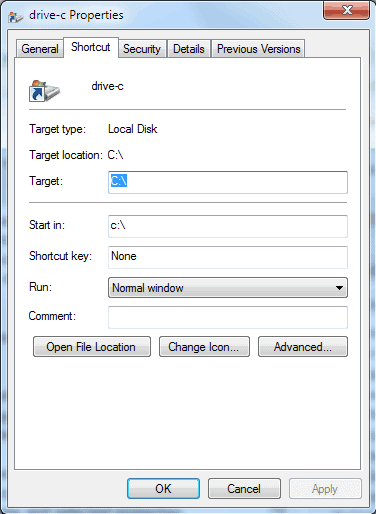 drive windows 7 taskbar