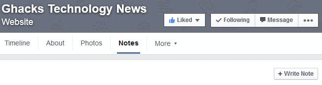 facebook write note rss