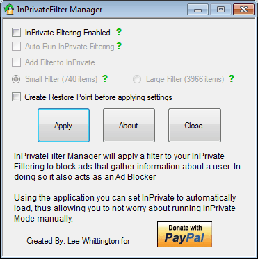 inprivate filter manager