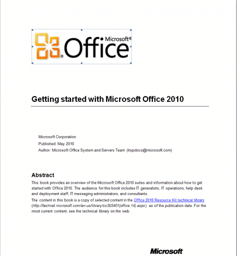 office 2010 getting started