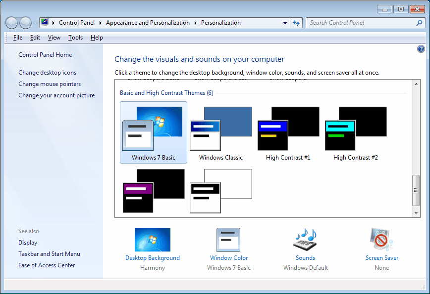 Disable Windows Aero In Windows 7