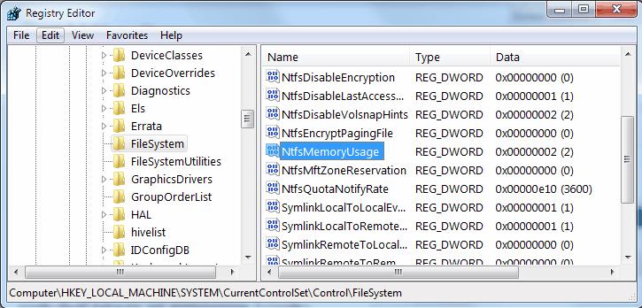 registry memory usage