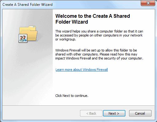 shared folder wizard