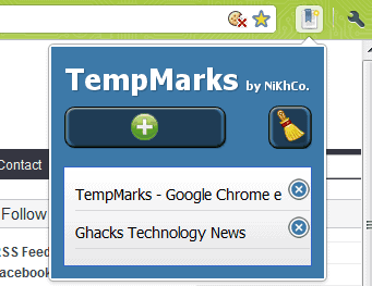 Temparks, Store Temporary Bookmarks In Google Chrome