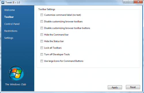 Tweak Internet Explorer, Toolbar, Restrictions, Settings