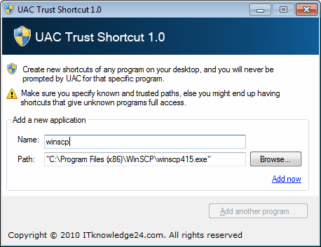 uac trust shortcuts