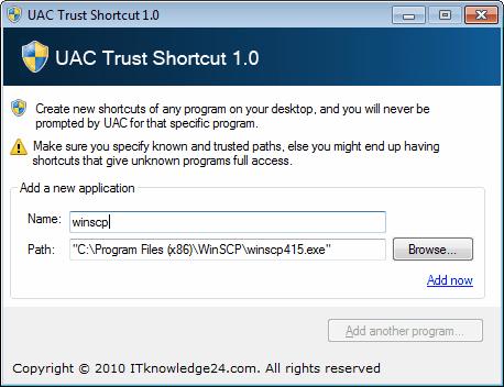uac trust shortcuts