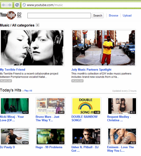 Youtube Revamps Music Page