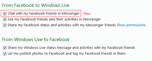 Connect to Facebook and Windows Live