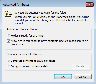 compress contents save disk pace