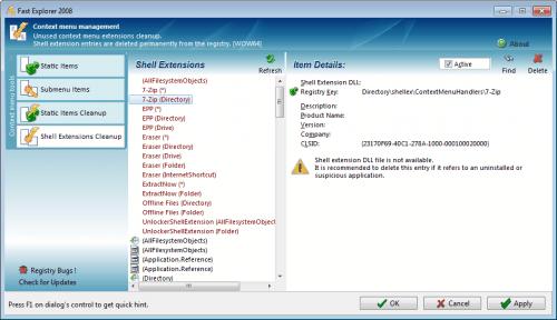 context menu management