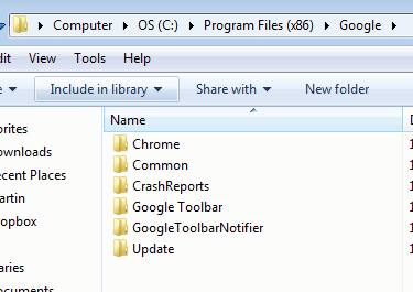 google chrome program files