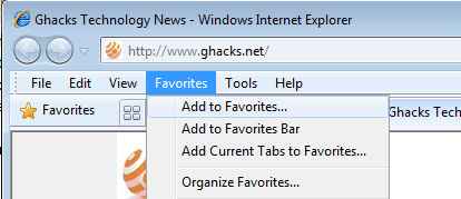 internet explorer favorites