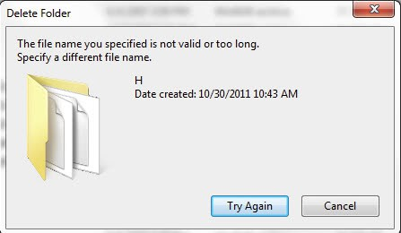 the file name you specified is not valid or too long