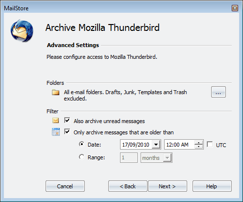 archive emails thunderbird