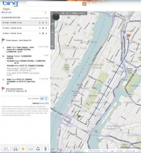 bing maps transit directions