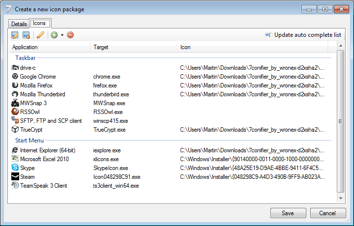 create icon package windows 7
