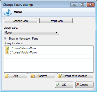 edit windows library settings