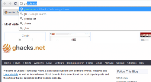 google chrome instant search