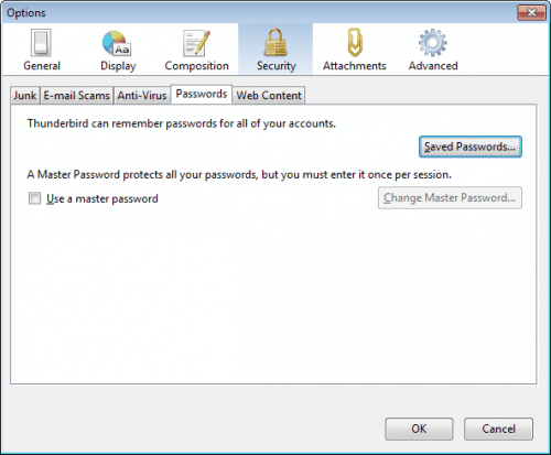 Recover Or Change Thunderbird Passwords