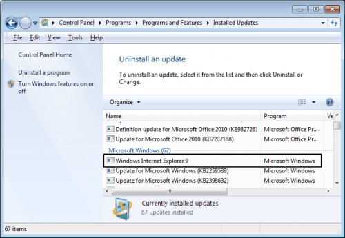 uninstall windows internet explorer