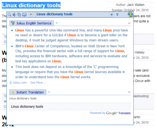 dictionary look up translation