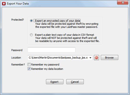 export passwords
