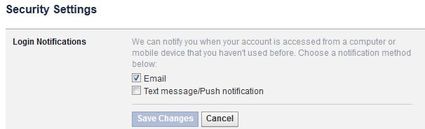 facebook login notifications