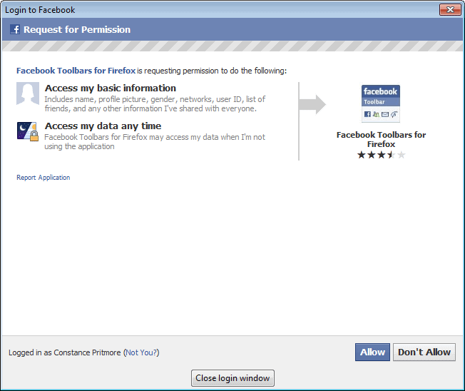 facebook toolbar permissions