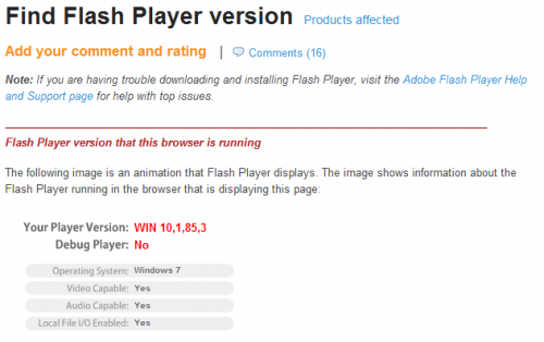 flash player version