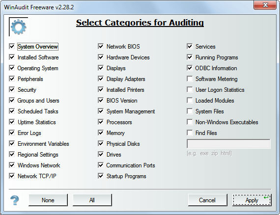 winaudit options