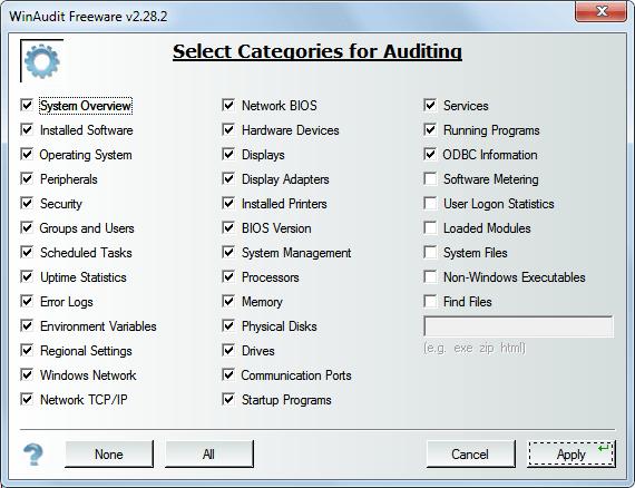 winaudit options