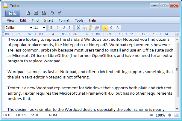 Texter Fast Wordpad Replacement Ghacks Tech News