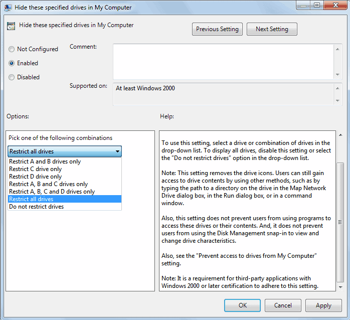hide partitions group policy