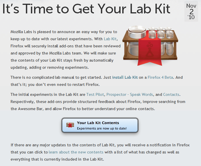 Mozilla Labs Lab Kit - gHacks Tech News