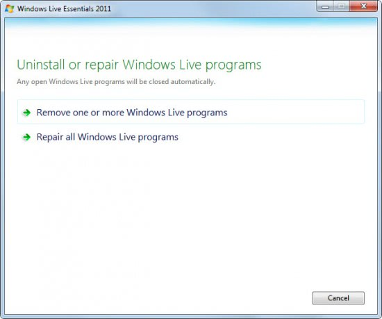 uninstall windows live messenger