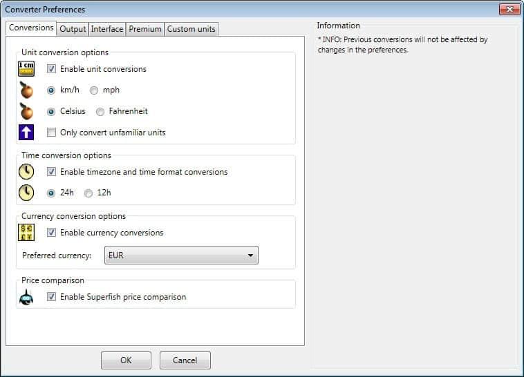 unit converter options
