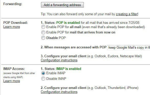 gmail pop3 imap