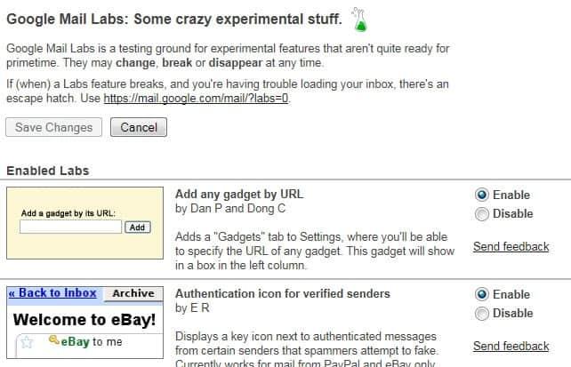 google mail labs