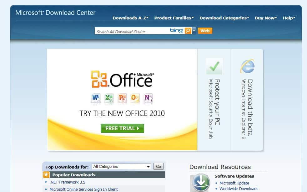 microsoft download center internet explorer 9