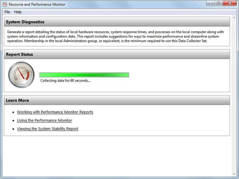 system diagnostics report