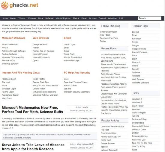 ghacks homepage snapshot