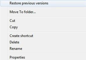 restore previous versions