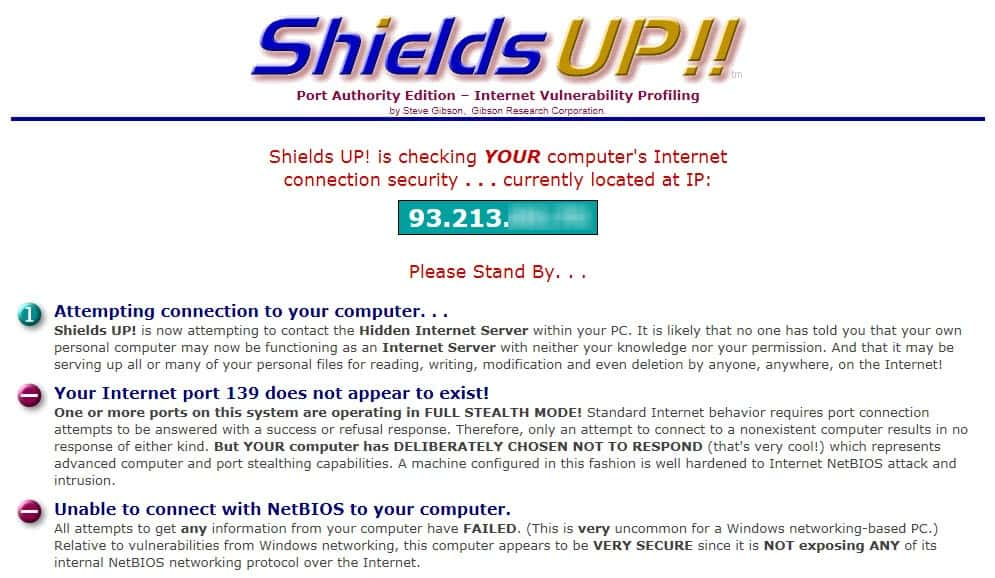shields up firewall test