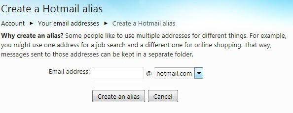 create a hotmail alias