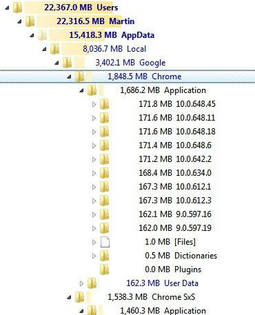 google chrome storage space