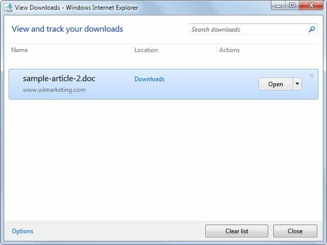 internet explorer download options